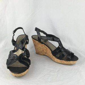 Kelly and Katie Wedge Sandal. Black Size 7 (0073)